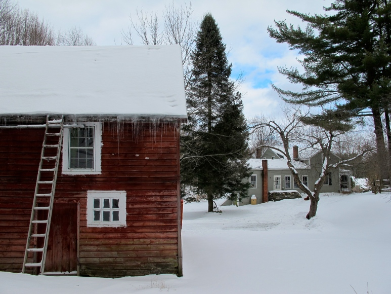 barn w/ house. snow.