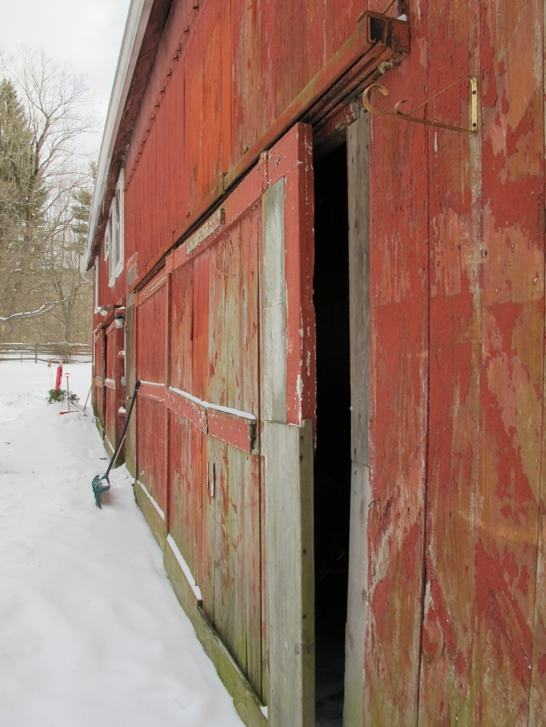 barn door from side. winter.